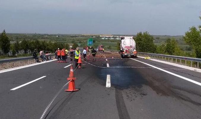 TEM Edirne yönünde büyük kaza