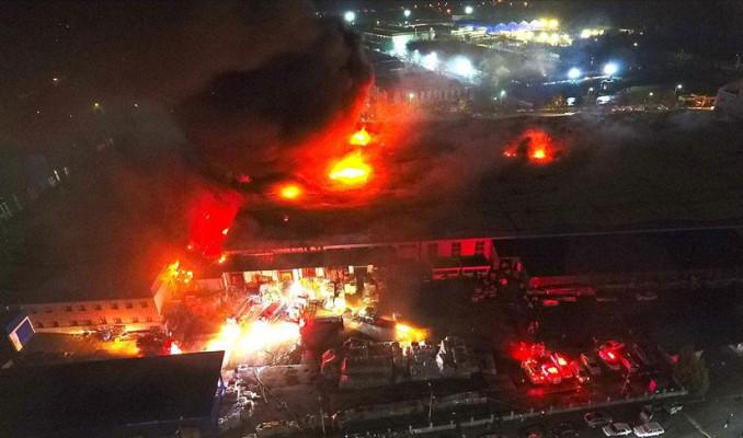 Otomotiv ürünleri fabrikasında korkutan yangın