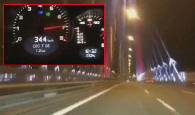 Köprüyü 344 kilometre hızla geçti