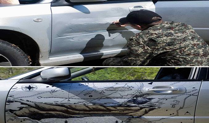 Kaza görmüş araçlara ilginç çözümler!