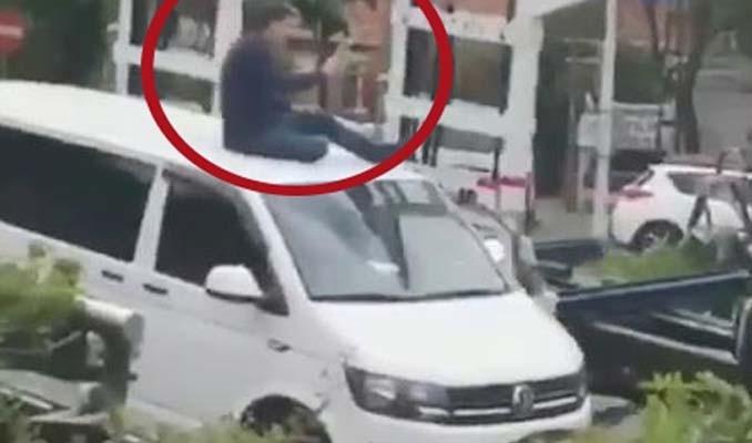 Polise direndi araçla birlikte çekildi