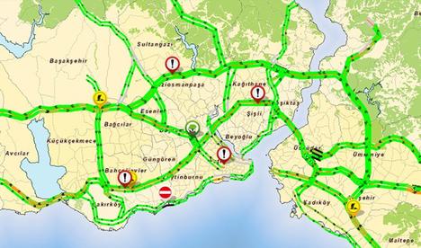 İstanbul'da yollar 'yeşil'lendi