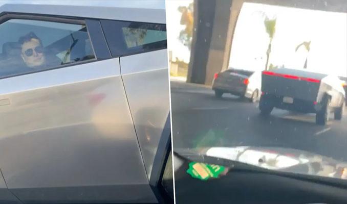 Elon Musk Cybertruck'la yollarda görüntülendi