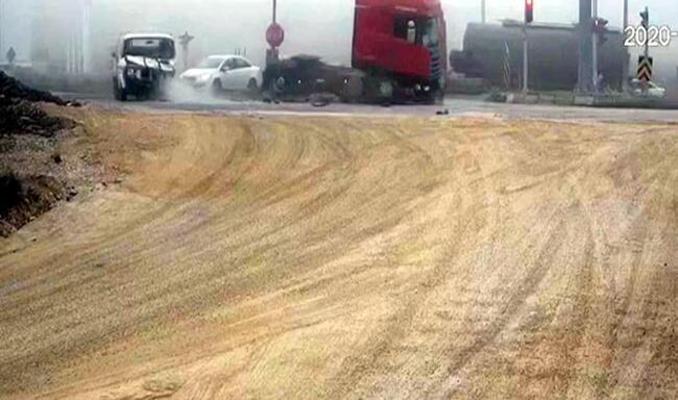 Bolu'da zincirleme kaza, güvenlik kamerasında