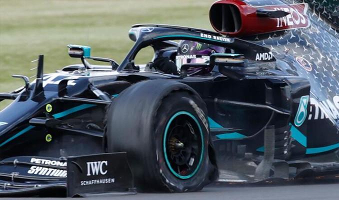 Hamilton patlak lastikle yarışı kazandı